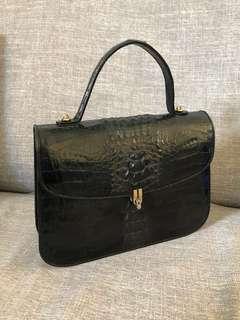 Matte Black Crocodile Skin Bag