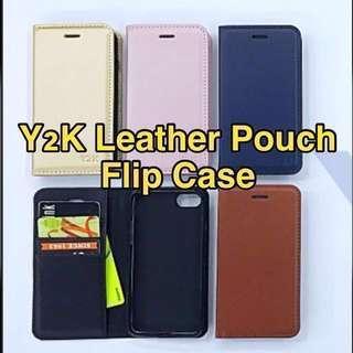 🚚 Y2K Leather Pouch Flip Case Casing Cover