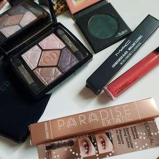 Makeup Bundle Set - Dior and The Balm eyeshadow, loreal mascara and MAC cremesheen glass