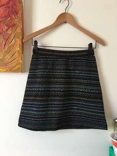 H&M Womens Ladies Geometric Black Gold Green Skirt Summer Spring XS 6 NWOT