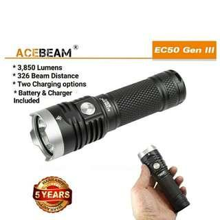 (3,850 Lumens_Free Delivery) ACEBEAM EC50 III LED Flashlight_USB Rechargeable_High Capacity 26650 Battery Included