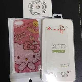 🚚 現貨🌈便宜出清 全買$450 全新-Iphone7 Hello kitty手機殼 軟殼 鋼化玻璃貼