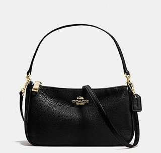 COACH TOP HANDLE POUCH IN PEBBLE LEATHER (F36645)