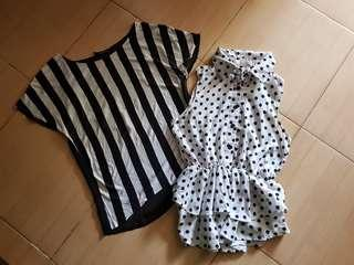 Beli 1 gratis 1 blouse white black