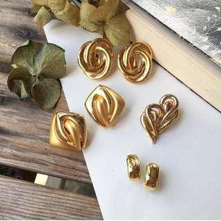 Skin&Moss Vintage復古日本製金色小金塊夾式耳環復古耳環古董耳環