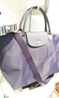 Longchamp 1515 厚尼龍手提斜背2用包紫色M號