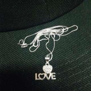 Genuine 925 Sterling Italy Silver Heart Love w/ Stones Necklace