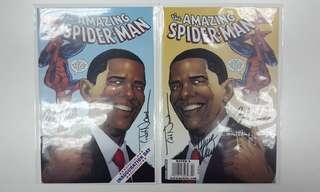 Amazing Spider-man #583B & #583C (2009,2nd Series) Set of 2- QUADRUPLE Autographs.signed by Mark Waid,Todd Nauck, Barry Kitson & Zeb Wells! Awesomely Special Barack Obama Variant Covers, Paired Mirror Images! Extremely Rare & Superbly Collectible Issues!!