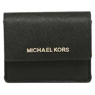 🚚 NEW ARRIVAL Michael Kors Jet Set Travel Card Case ID Key Holder Mini Wallet Black With Gold Tone Hardware