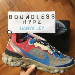 🚚 US 7 UNDERCOVER x Nike React Element 87 Light Beige Chalk/Signal Blue
