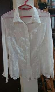 White embroidery organza blouse