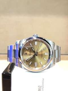 Pre Owned Rolex Oyster Perpetual 116000 Champagne Gold Dial Automatic Steel Casing Bracelet