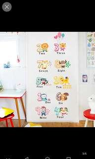 Children's Kindergarten Creative Cute Cartoon Fun Animal Digital English Environmentally Removable Background Decorative Wall Stickers