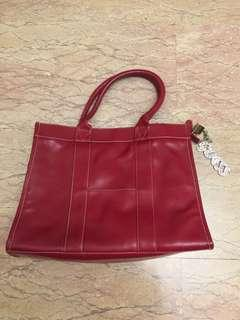 Red leather work bag guess logo keychain
