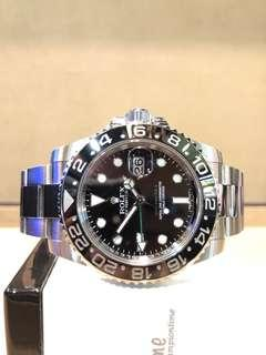 Pre Owned Rolex Oyster Gmt Master II 116710LN Black Dial Automatic Steel Casing Bracelet