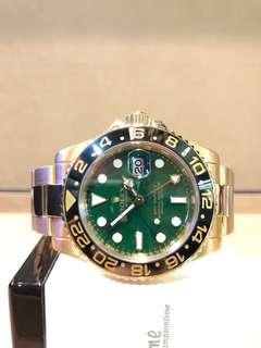 Pre Owned Rolex Oyster Gmt Master II 116718LN Jade Green Dial Automatic Gold Casing Bracelet