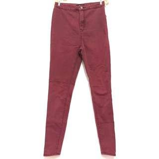 Forever 21 Maroon High-Waist Jeans