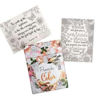 ~IN STOCK~ BN Proverbs in Color: 44 Cards to Colour and Share ~ Christian Art Gifts
