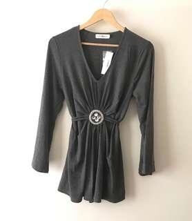 East & West Womens Grey Flowy Modest Top Blouse Shirt Size Large Office