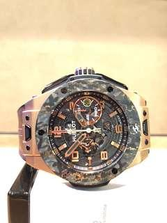Pre Owned Hublot Big Bang Unico Ferrari 401.OJ.0123.VR Skeleton Dial Automatic Gold Casing Leather