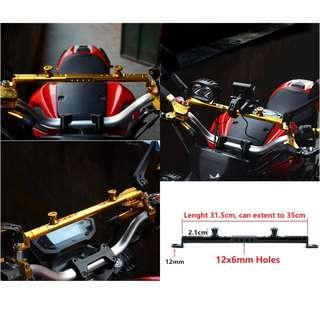 Motorcycle scooter mirror to mirror multipurpose bar extension
