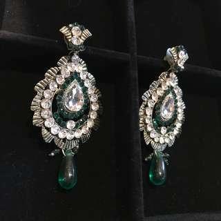 Green Earrings - Diamond - Dangling Statement