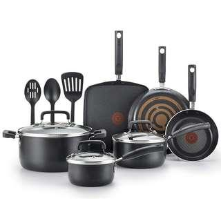 🚚 Authentic T-fal Cookware Set, Nonstick Pots and Pans Set, 12 Piece, Thermo-Spot Heat Indicator, Black