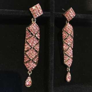 Pink Long Swarovski Earrings Diamond - Statement