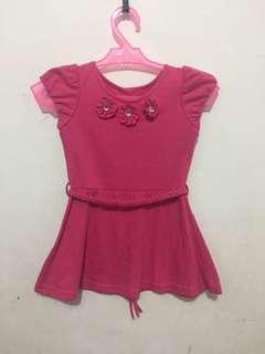 Baby Pink Dress with Flowers Accent 2T