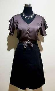 BROWN CROPPED SILK BLOUSE