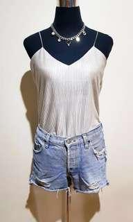 SILVER PLEATED CAMI TOP