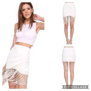 🚚 100990時尚下襬流蘇拼接包臀一片短裙size:XL
