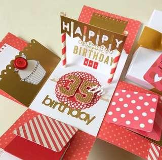 Happy 35 birthday Explosion Box card in red and gold