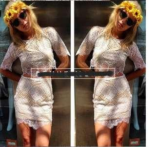 [New & Free delivery]White lace top + skirt(free size)