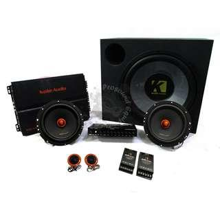 KOLE AUDIO AUDIO SET WOOFER WITH BOX 4 CHANNEL POWER AMPLIFIER COMPONENT SET BASS MID SPEAKER TWEETER CROSSOVER PRE AMPLIFIER EQUALIZER
