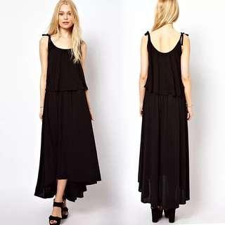 🚚 100990前短後長寬鬆連身雪紡長裙size:XS
