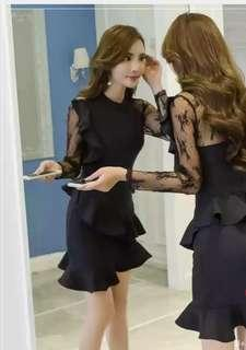 [New]Black lace sleeves ruffles dress(free size)