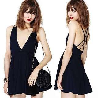 🚚 100990性感大深V領露背交叉美背吊帶收腰顯瘦雪紡連身裙洋裝navy blue only, size:XL
