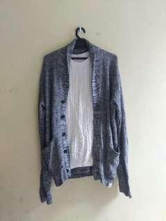 Grey Long Knit Cardigan (not incl white knit)