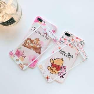Winnie the Pooh + Chip & Dale Full Coverage Mobile Phone Case Casing Cover Shell + Matching Tempered Glass Screen Protector - Apple IPhone 6/6S, 6/6S Plus, 7, 7Plus, 8, 8Plus & IPhone X / 10 - Brand New Instocks Ready Stocks (Sweet Floral Pink Piglet Baby