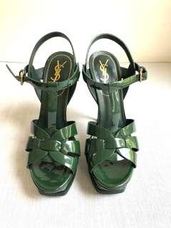 Yves Saint Laurent Classic Tribute 105 Sandals in Green Patent Leather