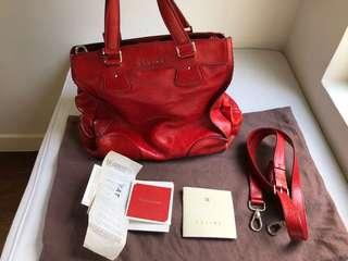 Celine Deerskin Leather Shoulder Bag in Red
