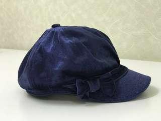 🆓Postage* Girls Pumpkin Patch Blue Velvet Hat #MidSep50