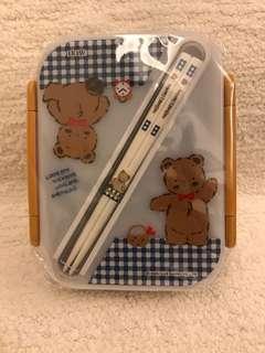 Sanrio vintage mr bear mr bear's dream 食物盒連筷子 1992'