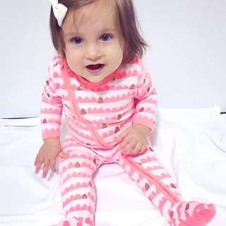 🚚 ✔️STOCK - PEACHY PINK ORANGE GOLD GLITTER SCALLOP NEWBORN BABY SLEEPING PJ JUMPER ZIPPER ROMPER TODDLER BOY/GIRL KIDS CHILDREN CLOTHING