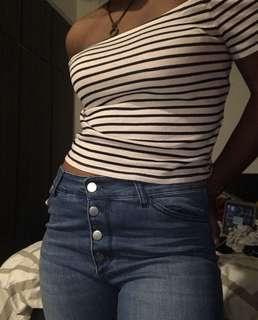 Striped Black and White Off Shoulder Top