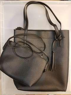 2 in 1 Black tote bag