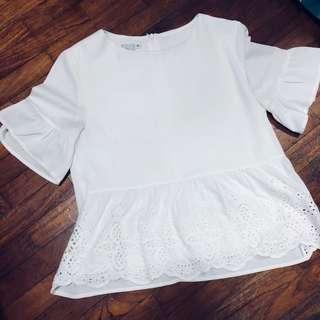 TSW White eyelet crochet top