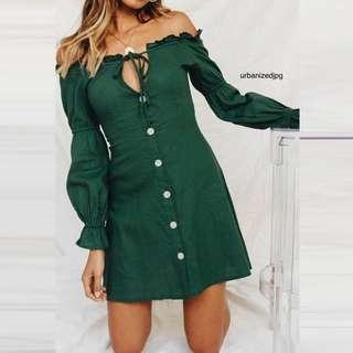 Army Green Off Shoulder Button up sleek dress