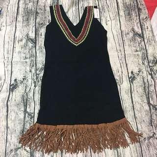 🚚 流蘇 針織 背心裙 民族風 長版上衣 洋裝 可換物